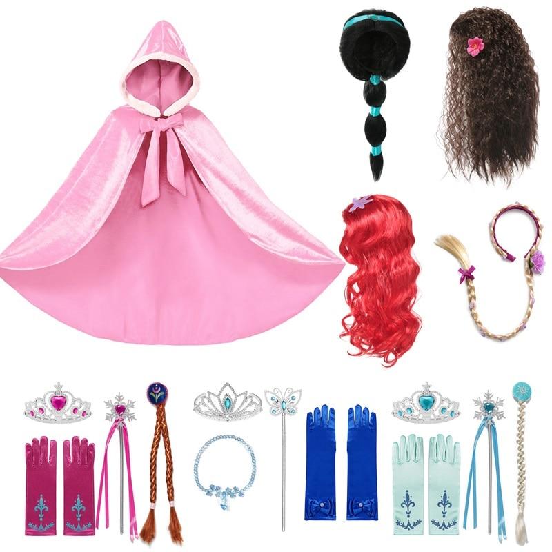 MUABABY Girls Princess Dress Up Accessories Hair Braid Children Long Cloak Jasmine Elsa Wig Rapunzel Braid Mal Evie Cosplay Wigs