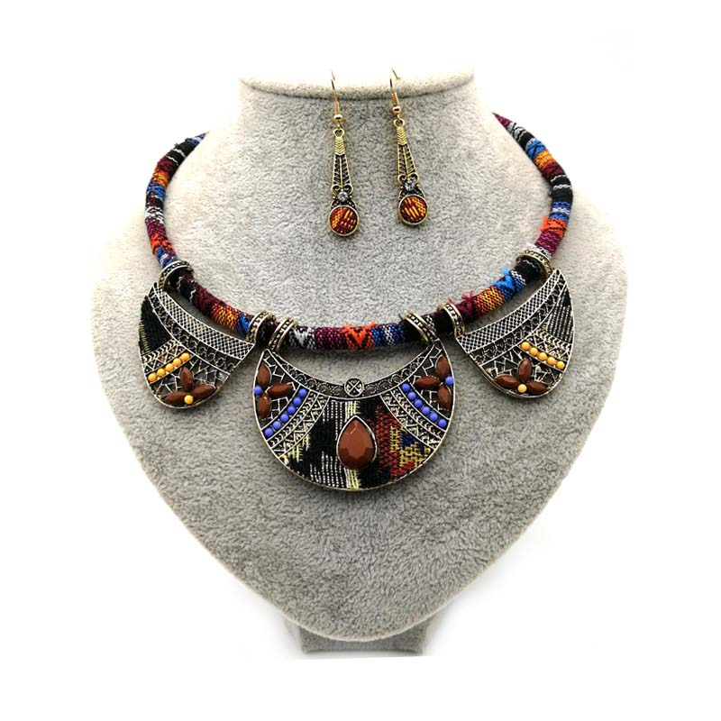 Ethnic Rope Necklace With Drop Earrings Set