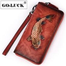 Pochette da donna in vera pelle portafoglio da donna borsa per cellulare borsa da polso borsa con cerniera pesce dorato inciso