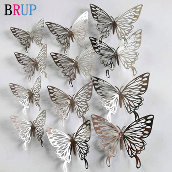 12Pcs/lot New 3D Hollow Golden Silver Butterfly Wall Stickers Art Home Decorations Wall Decals for Party Wedding Display Shop 2