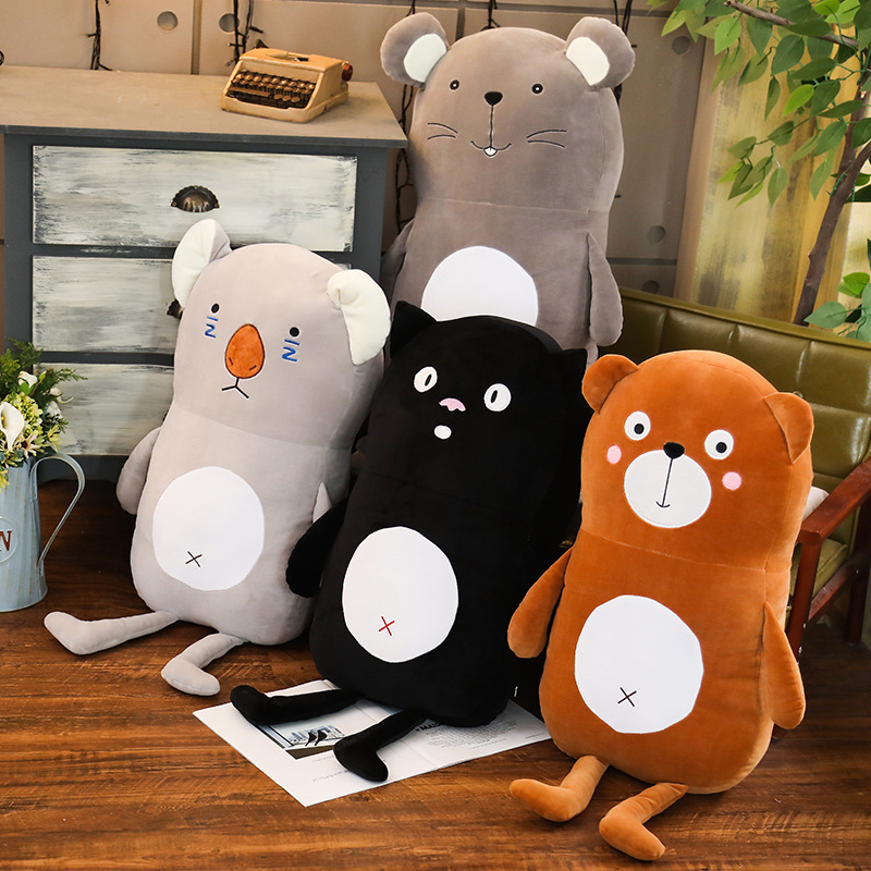 Mouse Sleeping Strip Pillow Cute Animal Pillow Brown Bear Black Cat Koala Plush Toys Elfe On The Shelf Stuffed Animals Stitche