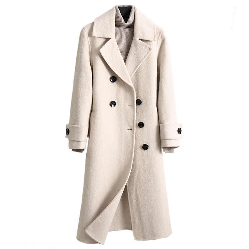 Wanita Mantel Musim Dingin 2019 Tren Baru Dua Sisi Murni Kasmir Mantel Panjang Longgar Hangat Wanita Jaket