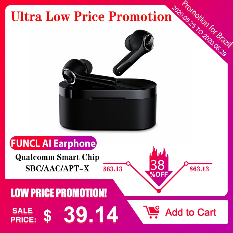 FUNCL AI Bluetooth Smart Earphone HiFi Wireless Stereo Bass Earbuds Noise Cancelling Touch Gaming Music Headset For Android IOS