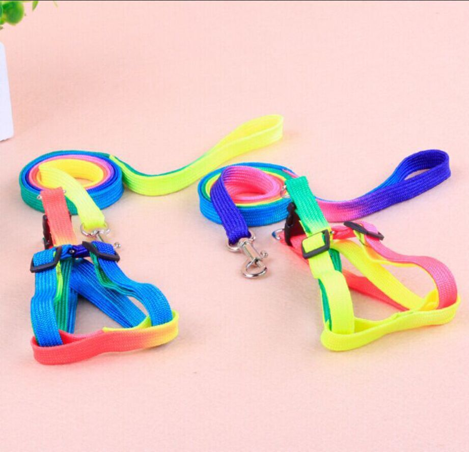 Puppy Hand Holding Rope Sub-Rainbow Color Colorful Hand Holding Rope Cat Rope Chest And Back Neck Ring Pet Dog