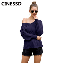 CINESSD Women Solid Pullover Sweater V Neck Long Lantern Sleeve Navy Blue Loose Casual Thin Sweaters Autumn Soft Tops Tee Shirts