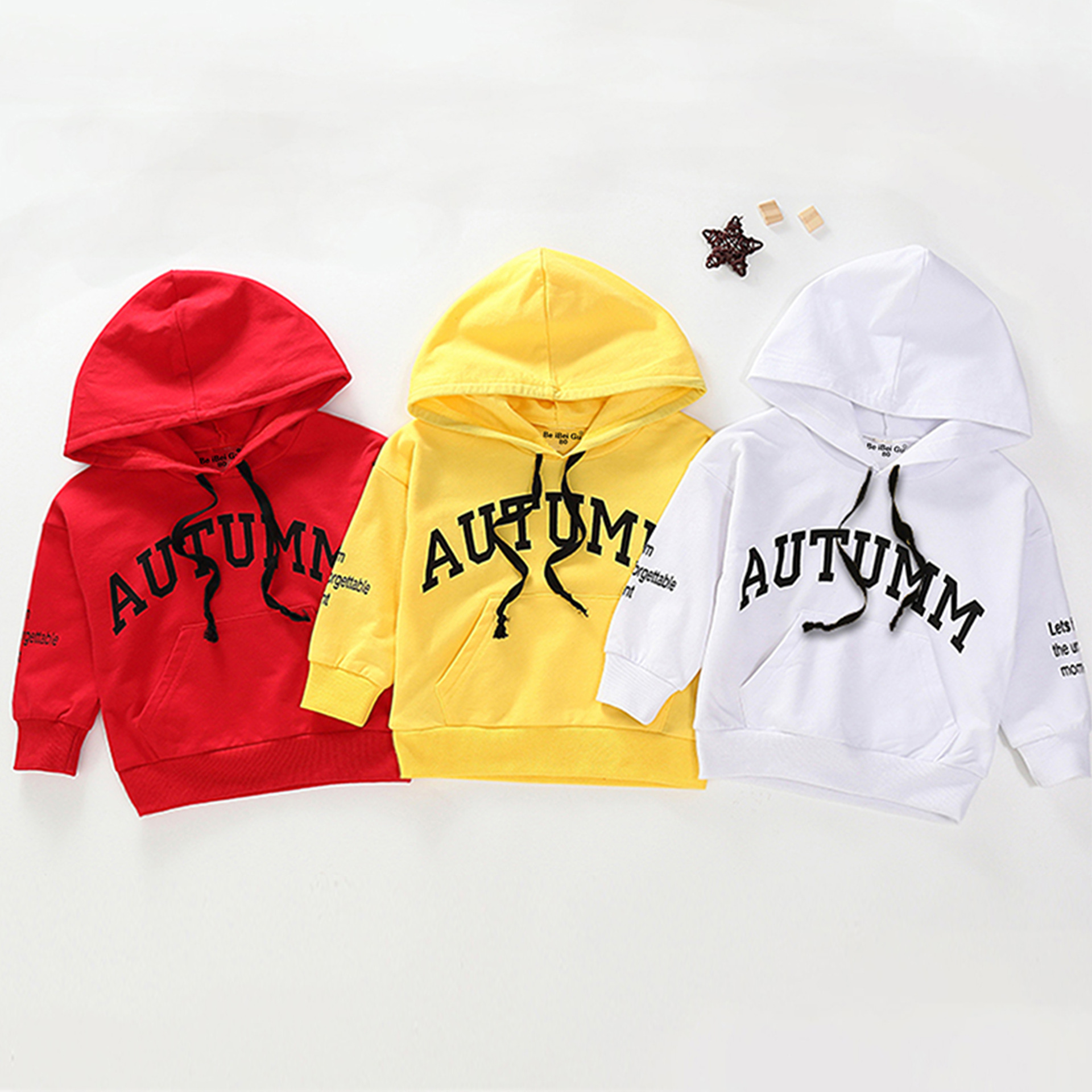 Spring Autumn Fashion Baby Clothes Infant AUTUMN Letter Blouse Kid Hoodies Tops Boys Girls Cotton Leisure Sport Hooded Hoodies