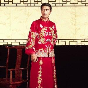 Image 3 - 2020 بدلة العريس و هو فو 2020 أزياء رجالية قديمة الصينية العريس فستان الزفاف التنين فينيكس سترة نخب بالجملة