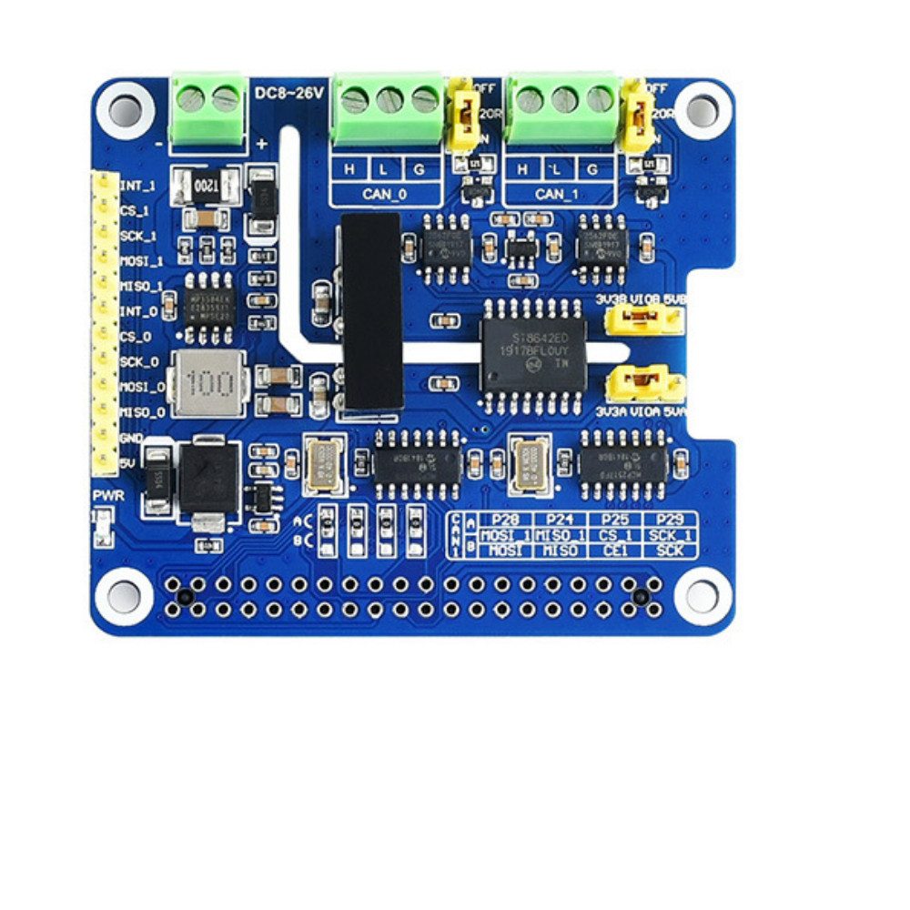 2 Channel Isolated CAN Bus Expansion Board Built-in Protection Circuit Support CAN2.0 CAN FD Dual Channel 8Mbps For Raspberry Pi