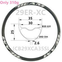 [CBYA29XC35SL] Asymmetric 310g 35mm Width 25mm depth 29er Carbon rim Mountain Bike wheel Tubeless XC 29er carbon mtb rims