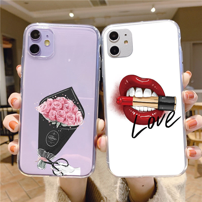 <font><b>Sexy</b></font> <font><b>Girl</b></font> Red Lips Kiss Soft TPU Phone <font><b>Case</b></font> For <font><b>iPhone</b></font> 11 Pro Xs Max X XR 10 8 <font><b>7</b></font> 6 6S Plus 5 5s SE 2 2020 Silicone Cover Fundas image