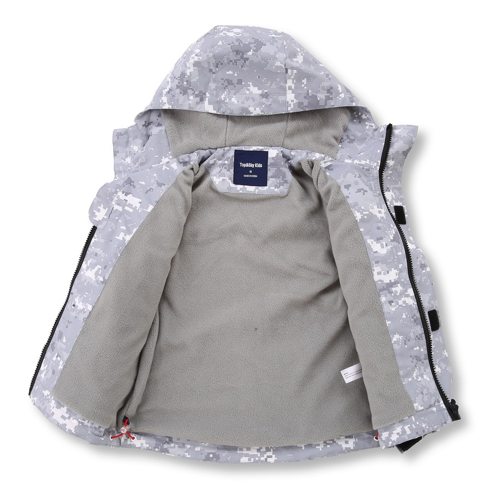 Image 2 - Gray Camouflage Warm Fleece Child Coat Waterproof Boys Jackets Kids Outfits Children Outerwear For Autumn Early Winter 110 150cmJackets & Coats   -