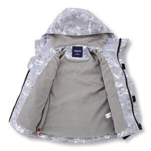 Image 2 - Gri kamuflaj sıcak polar çocuk ceket su geçirmez erkek ceketler çocuklar kıyafetler çocuk giyim sonbahar erken kış 110 150cm