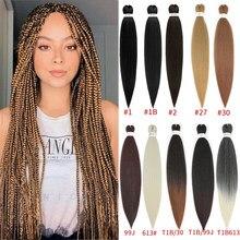 Extensions de cheveux synthétiques, tresses faciles, Crochet pré-étiré, Yaki doux, lisse, Fiber de basse température