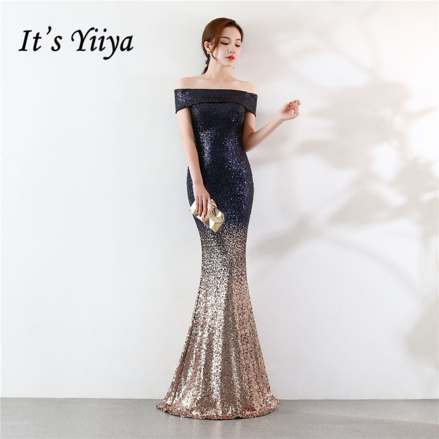Floor-Length Evening Dress DX302 It's Yiiya Short Sleeve Sequined Robe De Soiree Off The Shoulder Boat Neck Women Party Dresses