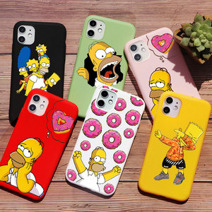 Homer J Simpson funny Bart Simpson Coque Cartoon Phone Case For iPhone 11 PRO MAX 6s 8 7 Plus XR X XS Max TPU Silicone Red case(China)