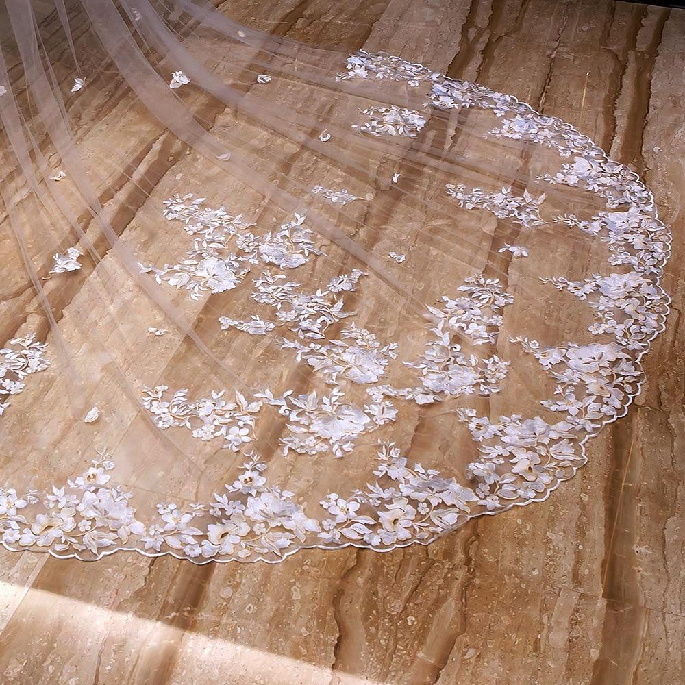 4 Meter Lange Wit Ivoor Kathedraal Wedding Veils Lace Edge Bridal Veil met Kam Bruiloft Accessoires Bruid Bruiloft Sluier - 5