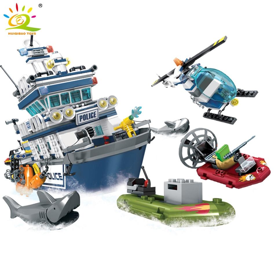 869pcs Police Series Patrol Boat Helicopter Model Building Blocks Legoing City Police Figures Enlighten Bricks Toys