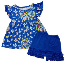 Cute Baby Girls Summer Boutique outfit Navy Floral Flutter Sleeve Tunic Top With Icing Shorts Kids Infant Toddler Clothing(China)