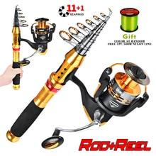 Fishing Rod Full Kits with Telescopic and Spinning Reel Baits Hooks Saltwater Freshwater Travel Pole Set lixada