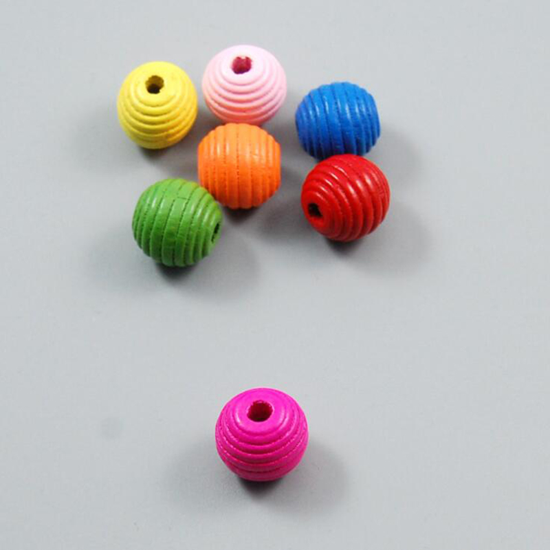 Round Wooden Beads DIY Children's Beaded Material Striped Colored Thread Wooden Beads Baby Rattle Pacifier Beads 2020 New