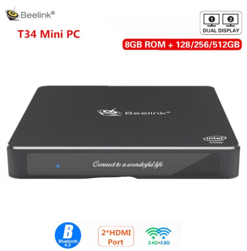 Beelink Gemini T34 Win10 Fanless Mini PC Intel N3450 8GB 128/256/512GB SSD 1000Mbps BT 4.0 Support Dual Screen Display Mini PC