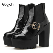 Gdgydh Patent Leather Platform Boots Super High Heels Black Gothic Punk Style Thick Heel Ankle Boots For Women Zip High Quality цена