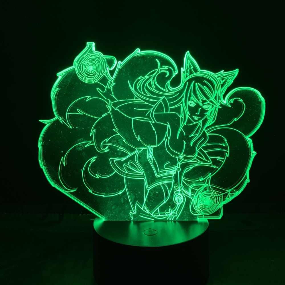 Cổng USB Hoặc Dùng Pin Để Bàn Liên Minh Huyền Thoại Anh Hùng Ahri Truyền Thuyết Chín Đuôi Cáo Ứng Phòng 3D đèn Ngủ Led LOL