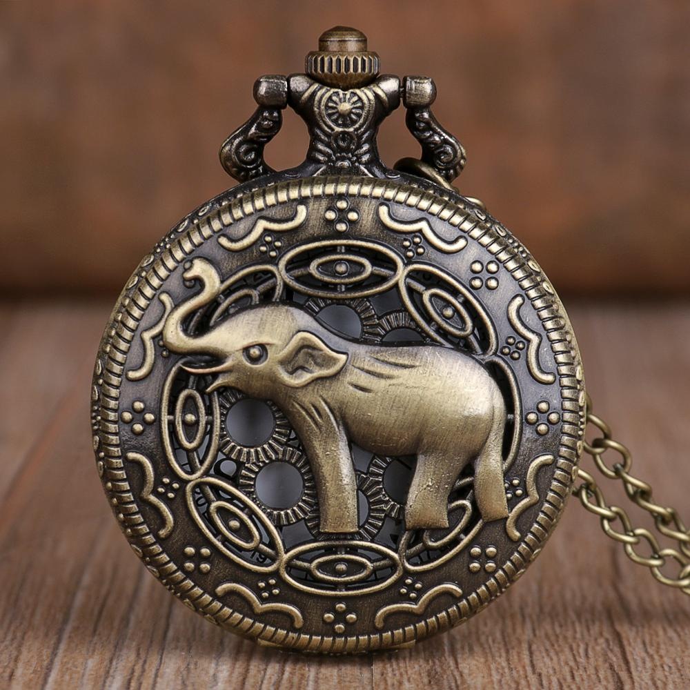 New Bronze Elephant Pocket Watches Chains Vintage Hollow Quartz Pocket Watches Necklace Chain Pendant For Mens Womens