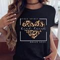WVIOCE Women Leopard Love Heart Fashion Casual Cute Cartoon Printed Clothes Print Tshirt Female Top Ladies Graphic T-shirt 26662