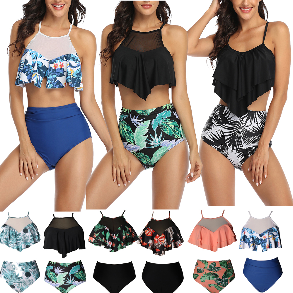 Tankini 2020 Swimming Suit For Women Swimsuit Plus Size Backless Halter Beach Print Swimwear Two Piece Suits Female Bathing Suit