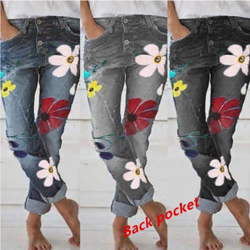 Puimentiua Pantalones L/ápiz de Mujer de Ancha Pierna Jeans Vaqueros Estampados de Cintura Alta