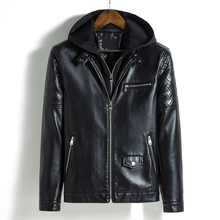 Fake Two Pieces Hoodie Leather Jacket Men Autumn Winter Casual Motorcycle PU Coat Plus Size 5XL Biker Clothes