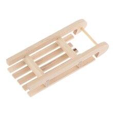 1/12 Mini trineo madera caja de regalo modelo Diy Navidad paisaje accesorio para casa de muñecas