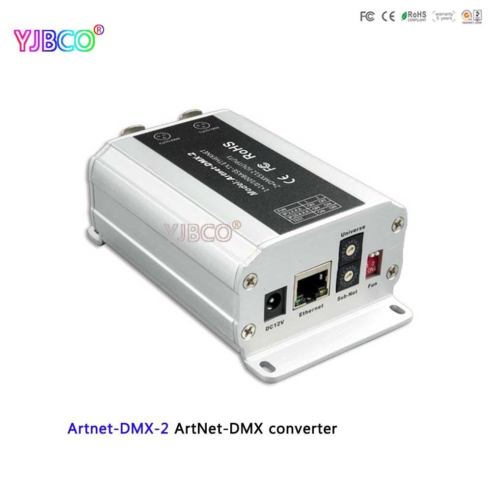 Fast Shipping DC12V ArtNet-DMX Converter;Artnet-DMX-2;ArtNet Input;DMX 1024 Channels Output 512*2CH Channels