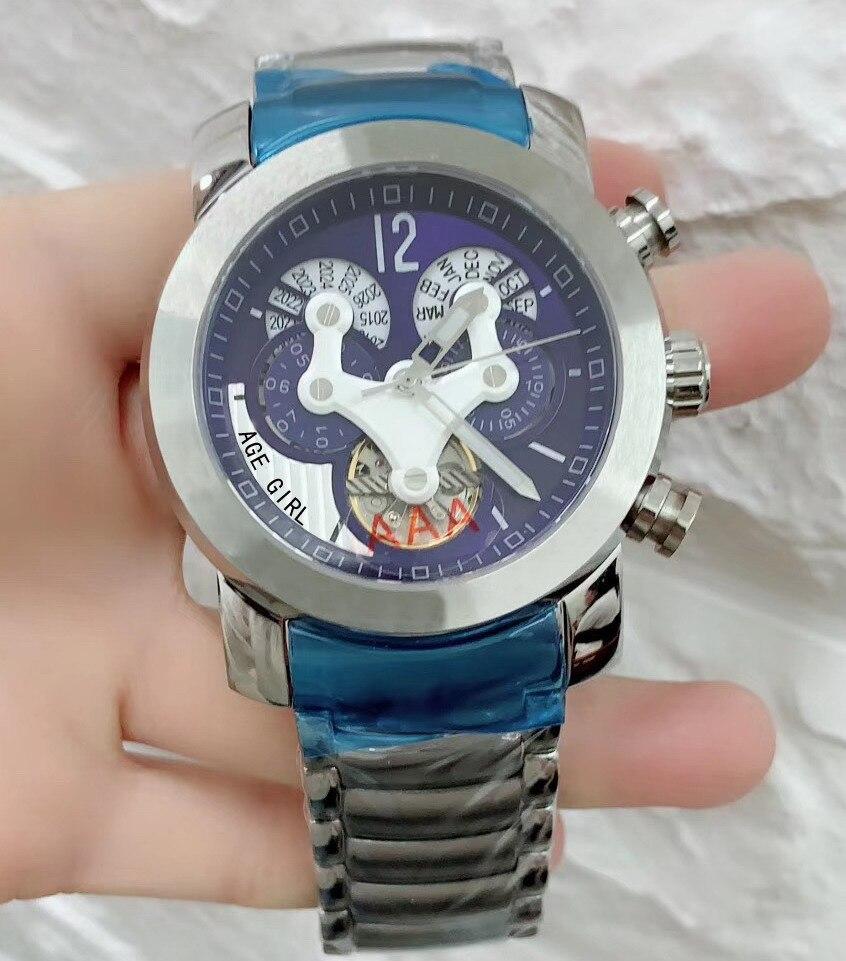 Luxury Brand New Men Watch Stainless Steel Silver Tourbillion Black Blue Automatic Mechanical Sapphire Glass Back Limited Sport
