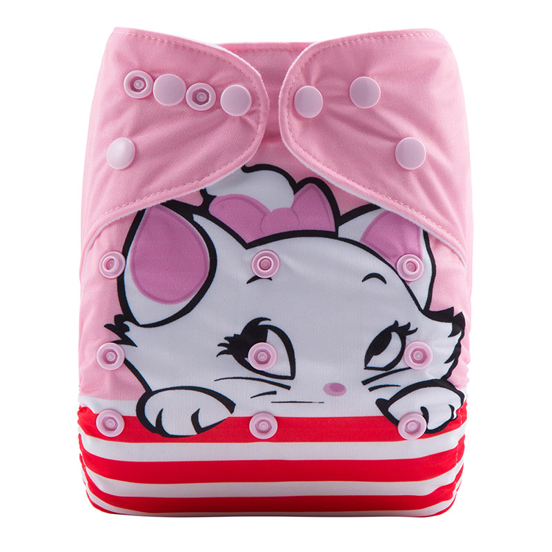 Washable Anime Plastic Baby Diapers Reusable Parents Choice Bamboo Cat Cloth Diaper DY1