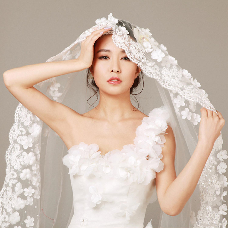 2020 Wedding Veils Bridal Veil Wedding Accessories Long Cathedral Train Veils birdcage Veil lace Wedding Veil length 3 meters