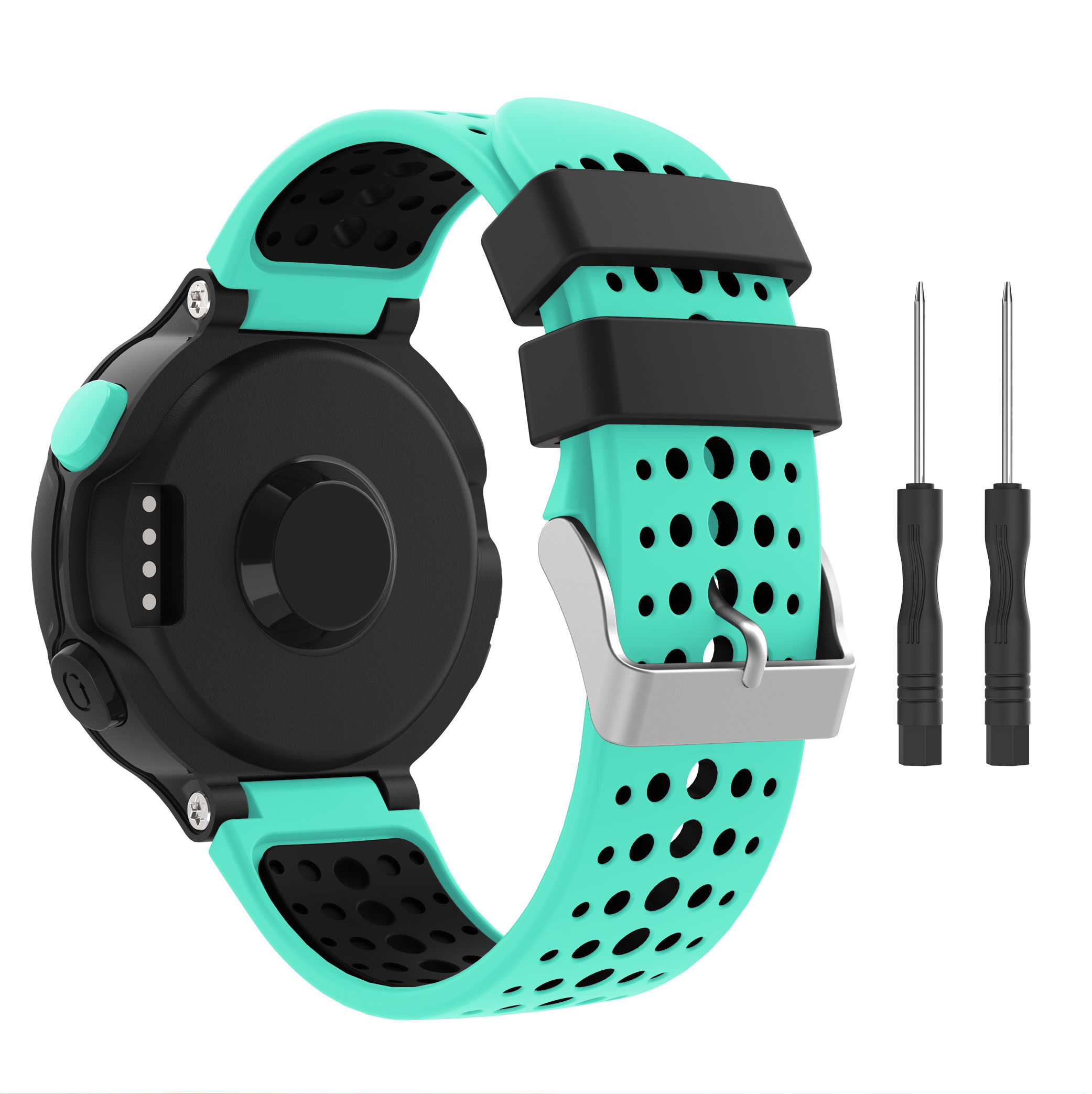 Yayuu Two-tone Silicone WatchBand For Garmin Forerunner 220/230/235/620/630/735XT Bracelet Strap Buckle Replacement WristStrap