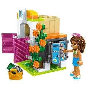 Image 5 - 도시 친구 심장 호수 여름 도시 수영장 파티 소녀의 조립 집 빌딩 블록 아이들을위한 친구 벽돌 장난감