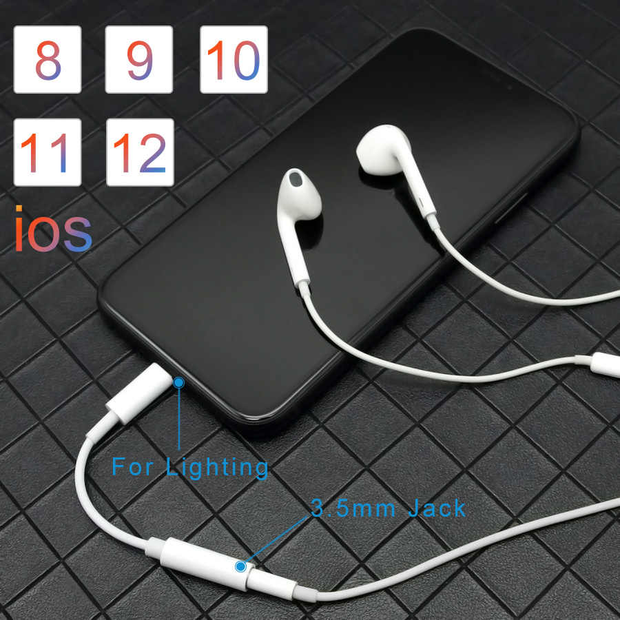 IOS 11 12 13 Headphone Adaptor untuk iPhone 7 6 8 11 X XS XR Earphone AUX Adaptor untuk Petir female Ke 3.5 Mm MALE Kabel Adaptor