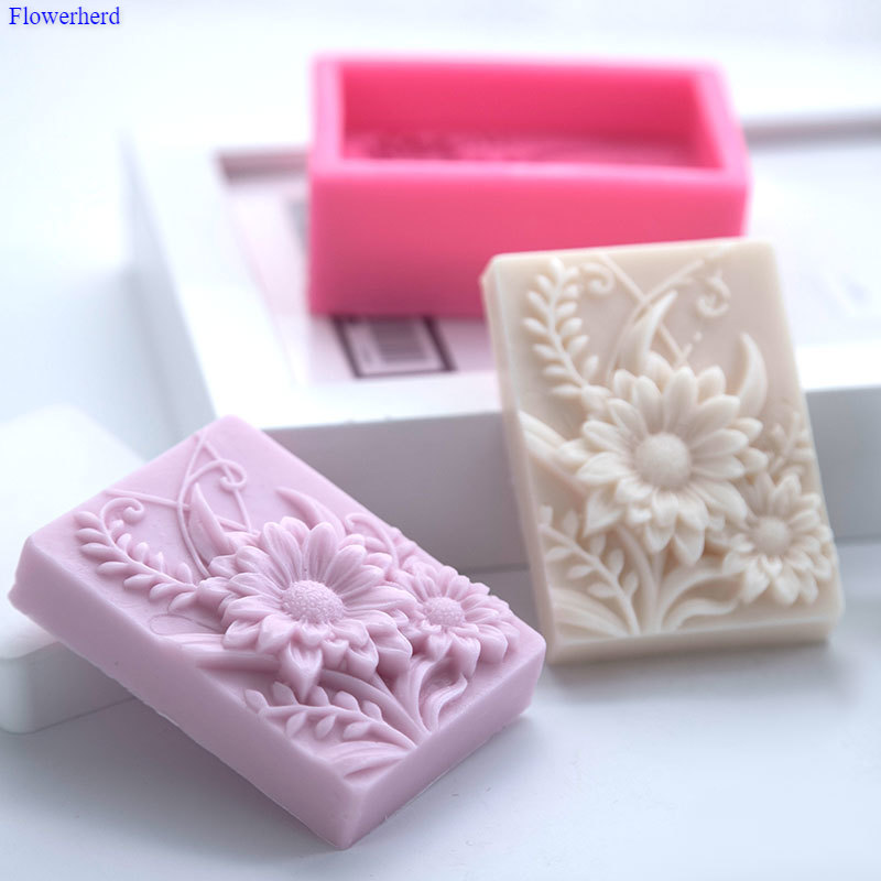 New Rectangular Daisy DIY Handmade Soap Silicone Mold 3d Flower Soap Mold Palster Chocolate Mold Soap Making Supplies Cake Decor