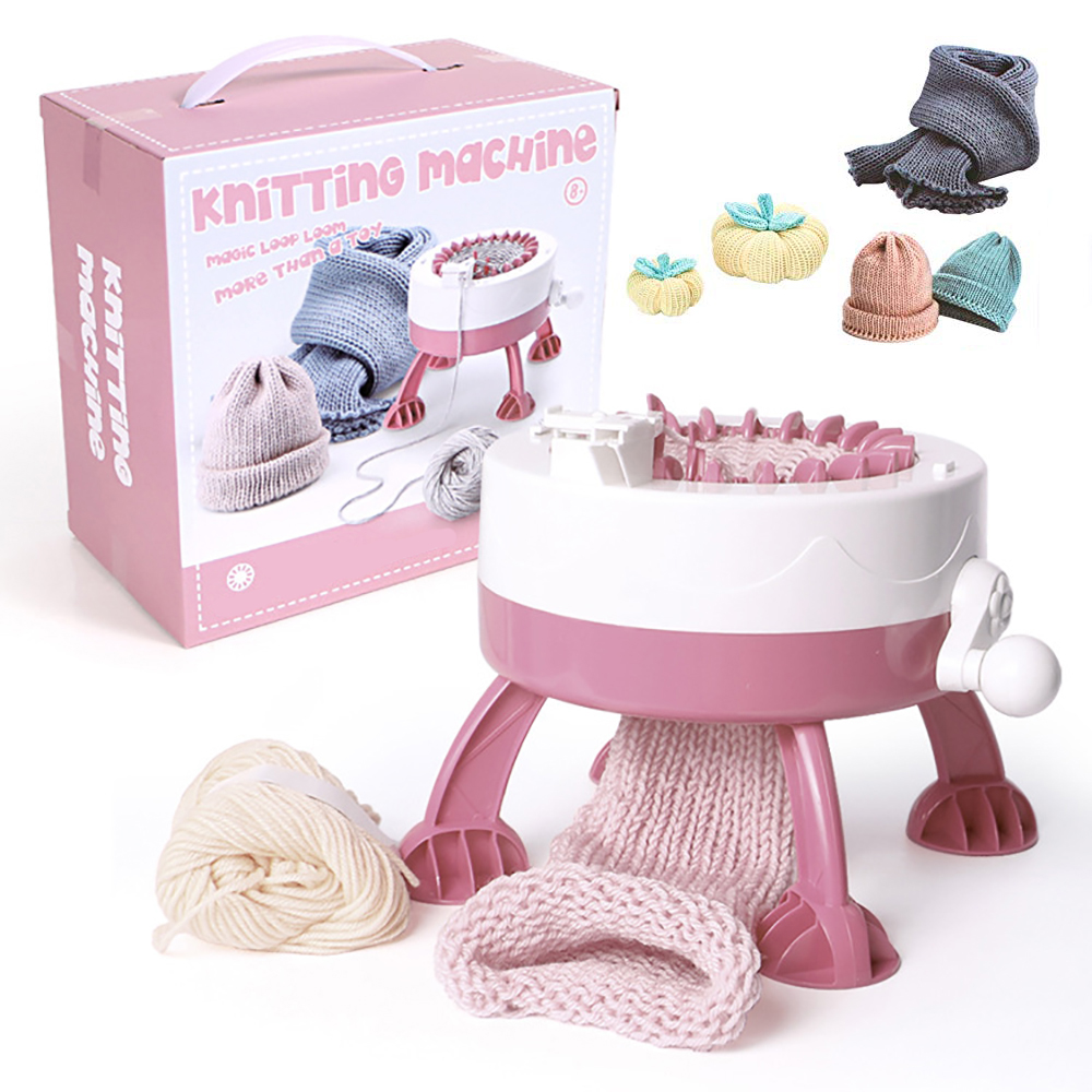 Sanbest Hand Knitting Machine Round Loom Knitting Board Rotating Double Knit Loom Machine Kit 22 Needles For Sock Hat DIY Kid