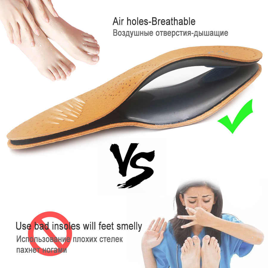 Orthotic insole Leather orthotics Insoles for Flat Foot Arch Support 25mm orthopedic Insoles for men and women OX Leg Shoe pad
