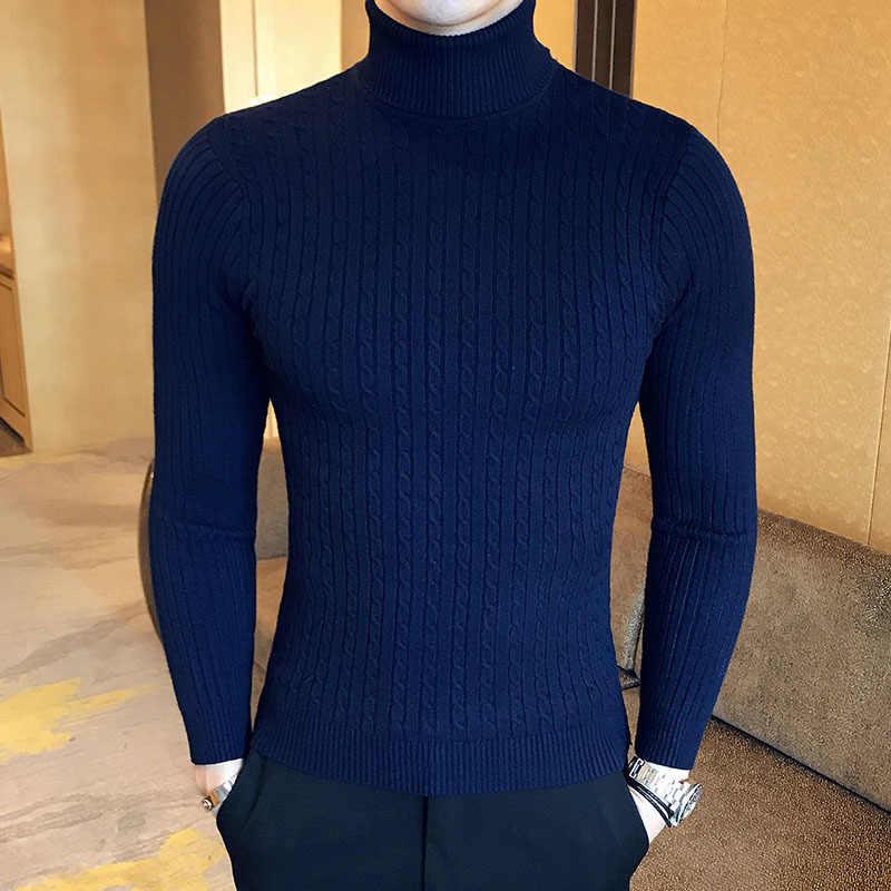 Zogaa 겨울 남성 높은 목 스웨터 두꺼운 따뜻한 터틀넥 브랜드 남성 스웨터 슬림 피트 풀오버 남성 니트 남성 더블 칼라