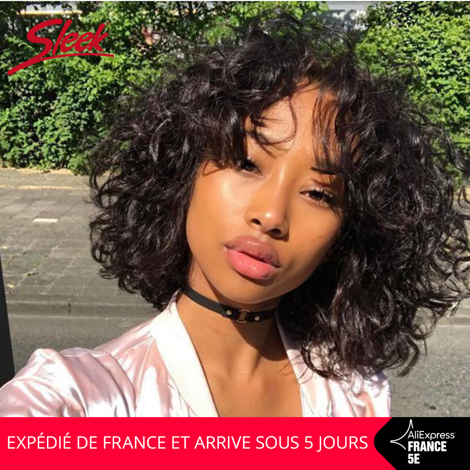 Sleek Short Human Hair Wigs Water Wave 10 Inch 150% Density Curl Pixie Cut Wig Natural Color Cheap Wig In France Fast Shiping