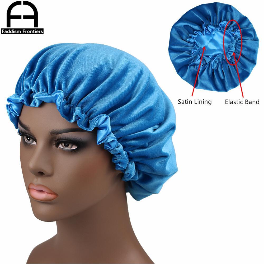 New Reversible Velvet Bonnet Satin Lined Elastic Band Bonnets Sleeping Cap Women Lady Turban