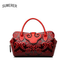SUWERER NEW Women Genuine Leather Bags Real Cowhide Embossed bag famous brand cowhide leather shoulder bag women luxury handbags naisibao 2018 new top cowhide women genuine leather bag embossed fashion luxury handbags designer women leather shoulder bag