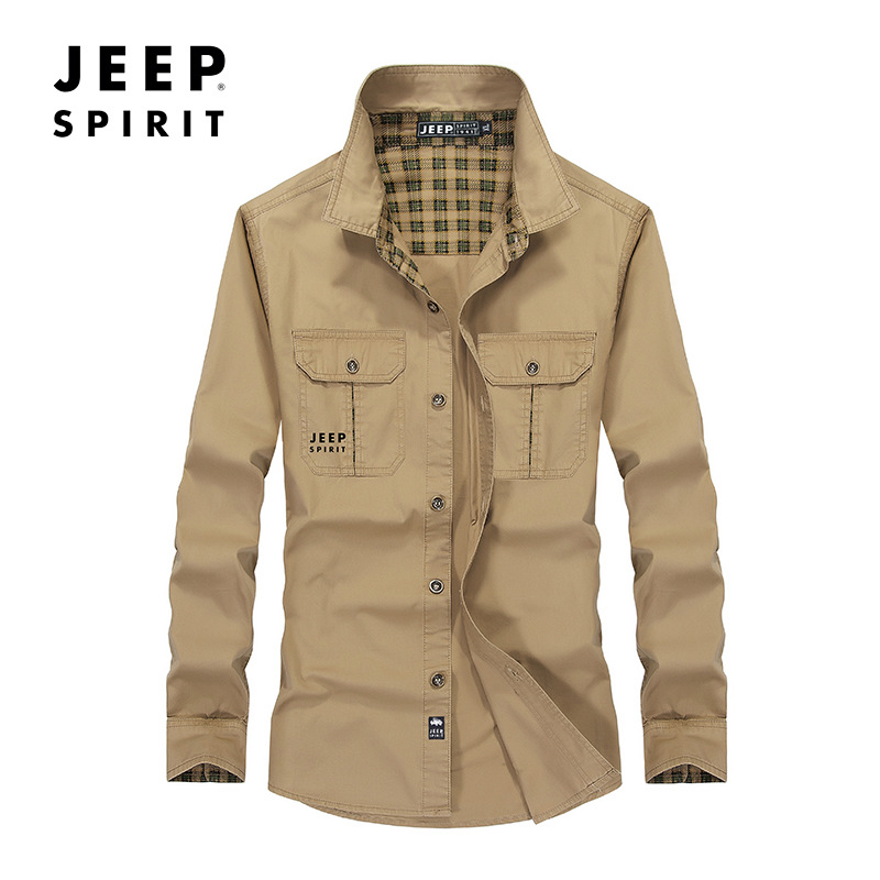 JEEP SPIRIT Long Sleeve Shirt Men Solid Color Pure Cotton Breathable Mens Shirts Blusa Masculina Plus Size M-5XL Shirt Male