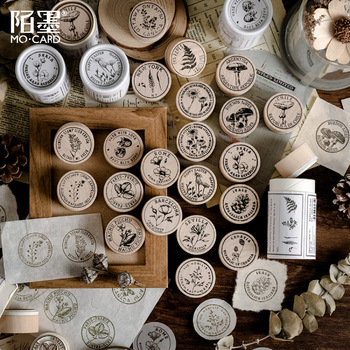3 Pieces/pack Plants Series Vintage Wooden Stamps Set Rubber Seal For Diy Stationery Scrapbooking Handbook Diary Letter Decor