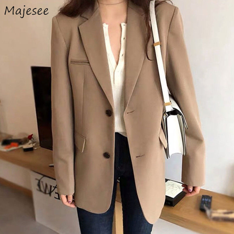 Blazer Women Plus Size Solid Elegant Office Ladies Classic Womens Blazers Casual Long Single Breasted Korean Fashion Clothing